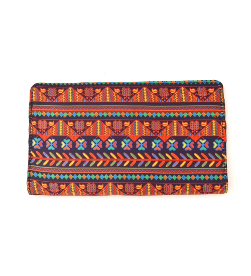 Border Colorful Printed Poly-Satin Suede Women Wallet