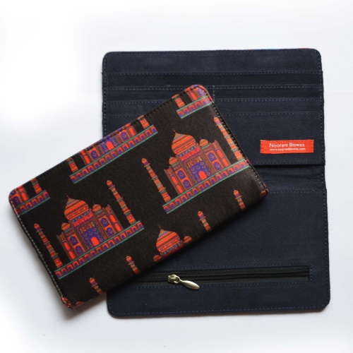 Black Taj Colorful Printed Poly-Satin Suede Women Wallet