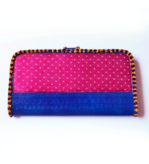 Blue-Pink Masroo Leather Colorful Women Wallet