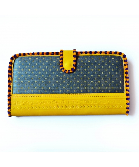 Grey-Yellow Masroo Leather Wallet