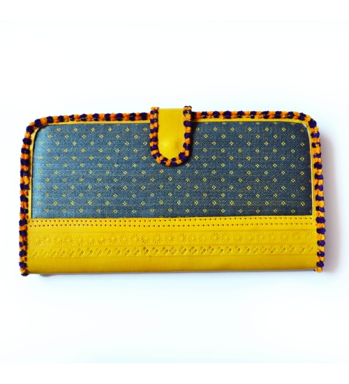 Grey-Yellow Masroo Leather Colorful Women Wallet