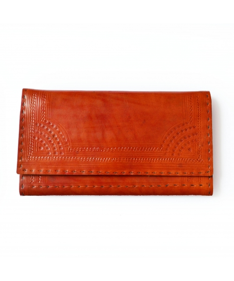 Tan Leather Engraved Wallet