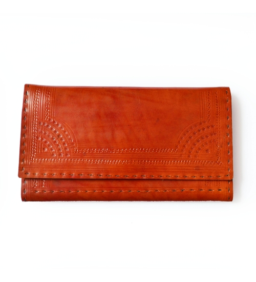 Tan Engraved Leather Colorful Women Wallet