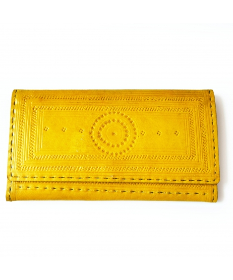 Yellow Engraved Leather Colorful Women Wallet