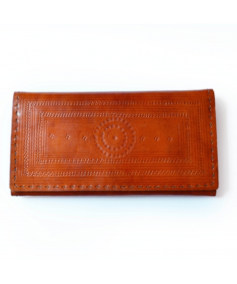 MandalaTan Leather Engraved Wallet