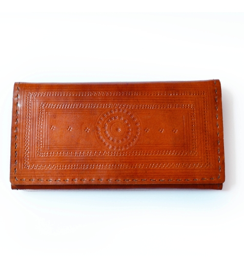 Mandala Tan Engraved Leather Colorful Women Wallet