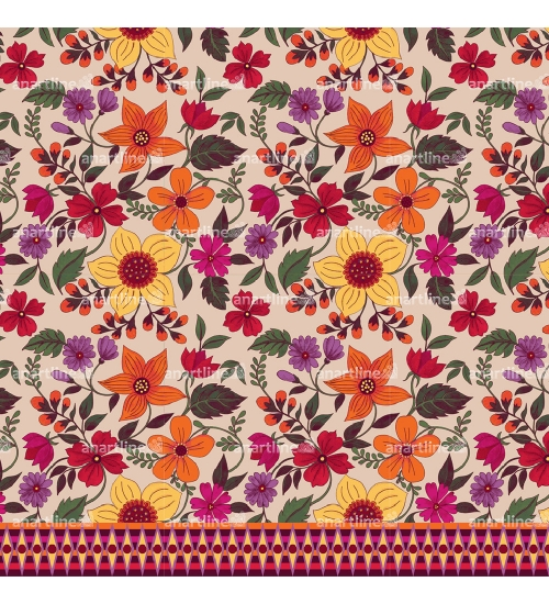 Floral Pattern with Border Print