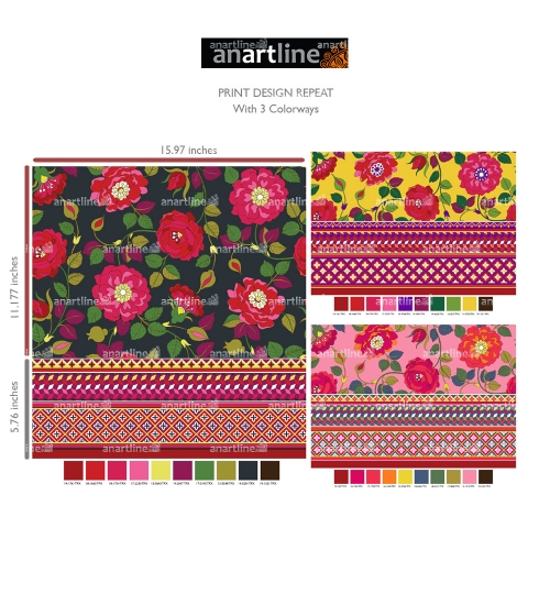 Rose Print with Border